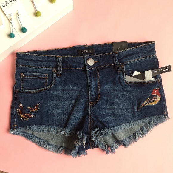 STS Blue Pants - STS Embroidered Denim CutOff Shorts